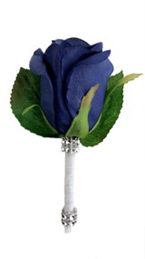 Navy Blue Silk Rose PREMIUM Boutonniere - Groom Boutonniere Prom