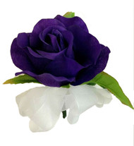 Purple Open Silk Rose Corsage - Wedding Corsage Prom