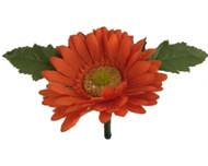 Tangerine Orange Silk Daisy Boutonniere - Groom Boutonniere Prom