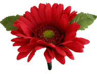 Red Silk Daisy Boutonniere - Groom Boutonniere Prom