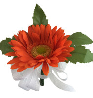 Tangerine Orange Silk Daisy Corsage - Wedding Corsage Prom
