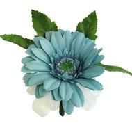 Teal Silk Daisy Corsage - Wedding Corsage Prom