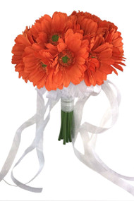 Tangerine Orange Daisy Bouquet Large - Silk Bridal Wedding Bouquet