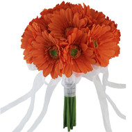 Orange Daisy Bouquet Large - Silk Bridal Wedding Bouquet