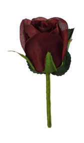 Burgundy Silk Rose Boutonniere - Groom Boutonniere Prom