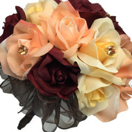 Autumn Rose Bridal Bouquet - Silk Wedding Flowers- 24 stem