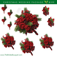 10 pc Christmas Velvet Red Bridal Package - Silk Wedding Flower Bouquets