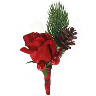 Red Velvet Christmas Mens Boutonniere
