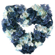 Navy and Light blue hydrangea silk wedding flower heart wreath