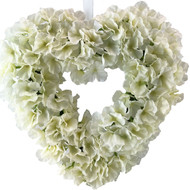 Ivory Hydrangea Silk Wedding Flower Heart Wreath
