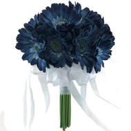 Blue Daisy Bridal Bouquet- Silk Wedding Flowers - 18 stem