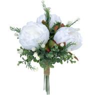 Peony & Eucalyptus Silk Wedding Flower Bridal Bridesmaid Bouquet