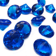40 blue acrylic diamond jewels in every bag. Over ONE INCH in diameter.