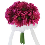 Hot Pink Daisy Bouquet - Silk Bridal Wedding Flowers -18 stems
