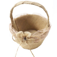 Burlap & Lace Flowergirl Basket, perfect to carry our silk rose petals down the aisle of any rustic, beachy, outdoor, country, natural style wedding.