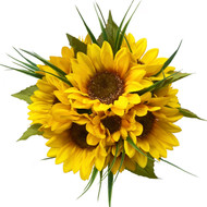 10 Sunflower Stem Silk Flower Bridal Bouquet with Satin Ribbon Streamers-Rustic Wedding Decor - Large Bouquet