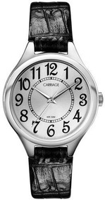 Carriage by Timex Women's C3C391 Silver Tone Round Case Silver Dial Black Croco Strap Watch