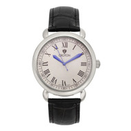 Croton Mens Stainless steel Silvertone Leather Strap Watch