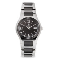 Croton Mens Ceramic Silvertone Date Watch