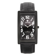 Croton Mens Stainless steel Black Rectangular Watch