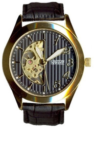 Croton Mens Stainless Steel Silvertone   Skeleton Automatic Watch