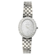 Croton Womens Stainless Steel Silvertone Diamond Bezel Watch