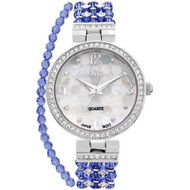 Ladies Blue Swarovski Bead Watch with Austrian Crystals and Coordinated Bracelet