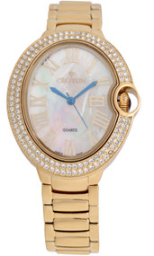Ladies Goldtone Quartz Watch with Crystal Bezel & Mother of Pearl Dial