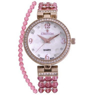 Ladies Pink Swarovski Bead Watch with Austrian Crystals and Coordinated Bracelet (CN207563RGPK)