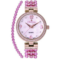 Ladies Purple Swarovski Bead Watch with Austrian Crystals and Coordinated Bracelet (CN207563RGPP)