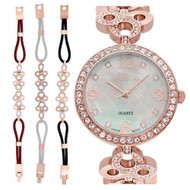 Ladies Rosetone Mother of Pearl Dial Watch with Crystal Bezel & Bracelet Set (CN407567RGMP)