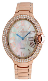 Ladies Rosetone Quartz Watch with Crystal Bezel & Mother of Pearl Dial