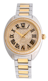 Ladies Twotone Swiss Quartz Watch with Set CZ Bezel and Pave Dial