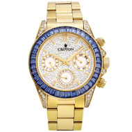 Men's Goldtone Multi-function Watch with Blue  CZ Baguettes on Bezel