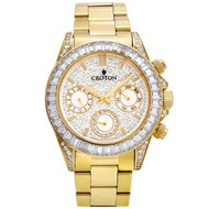 Men's Goldtone Multi-function Watch with Clear  CZ Baguettes on Bezel