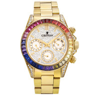 Men's Goldtone Multi-function Watch with Multi-colored  CZ Baguettes on Bezel