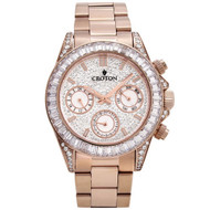 Men's Rosetone Multi-function Watch with Clear CZ Baguettes on Bezel