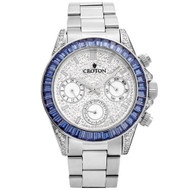 Men's Silvertone Multi-function Watch with Blue CZ Baguettes on Bezel