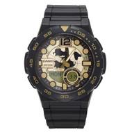 Casio Men's Ana-Digi Dive Style Watch AEQ100BW-9AVCF World Dial Black Gold