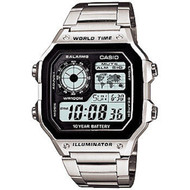Casio Men's Stainless Steel World Time Multifunction Watch AE1200WHD-1A