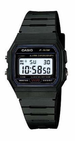 Casio Classic Digital Sport Watch F91W-1 Black Resin Strap