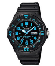 Casio Men's  Dive Watch MRW200H-2B3VCF Black Resin Blue Dial 100M