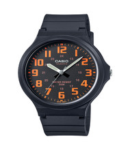 Casio Men's 'Easy To Read' Quartz Casual Watch MW240-4BV Black Orange