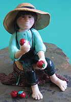 Amish Quilts - Amish boy with apple