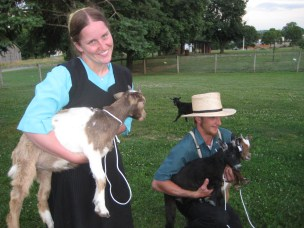 Amish Couple with Goats