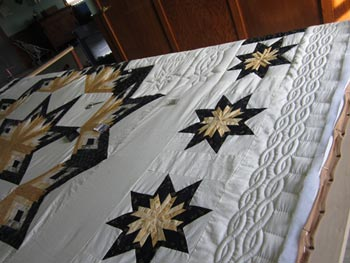 Shimmering Midnight Stars Amish Patchwork Quilt