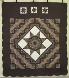 Log Cabin Star Patchwork Amish Quilt 106x119