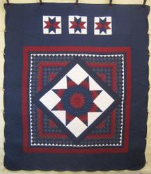 Midnight Lone Star Common Amish Quilt 100x116