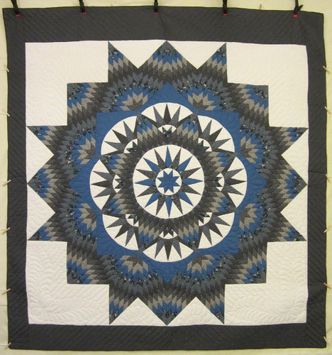 Broken Mariners Compass Star Amish Quilt 108x115
