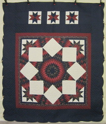 Split Stars Compass Patchwork Amish Quilt 102x117